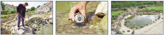 Pasos 10 a 12 en la construcción de un estanque con lámina