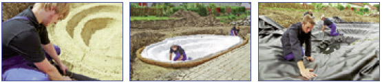Pasos 4 a 6 para la construcción de un estanque con lámina