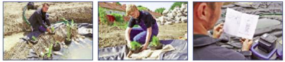Pasos 7 a 9 en la construcción de un estanque con lámina
