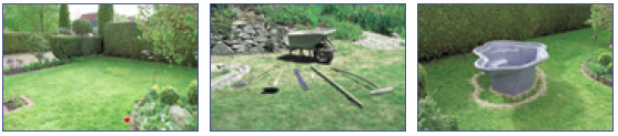 Pasos 1 a 3 en la construccion de un estanque con cubeta