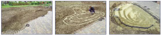 Pasos 1 a 3 para la construcción de un estanque con lámina