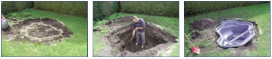 Pasos 4 a 6 en la construccion de un estanque con cubeta