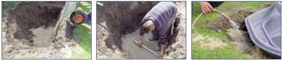 Pasos 7 a 9 en la construccion de un estanque con cubeta